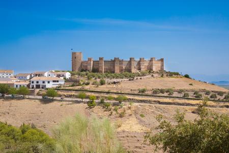 landmark of ancient arab Castle of Burgalimar, from X century, public monument in village Banos de la Encina, Jaen, Andalusia, Spain Europe Stock Photo