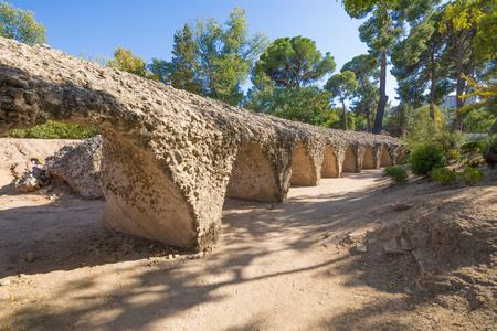 ancient Roman circus ruins, landmark and monument from first century, in Toledo city, Castilla La Mancha, Spain, Europe