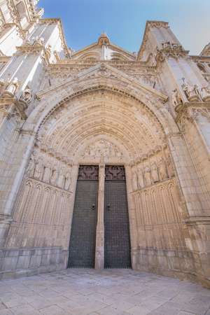 ... on exterior facade of main door of the Primate Cathedral of Saint Mary landmark and monument of the thirteenth century in Toledo city Spain Europe. & Medieval Intricately Carved Door On A Building In Toledo Spain ...