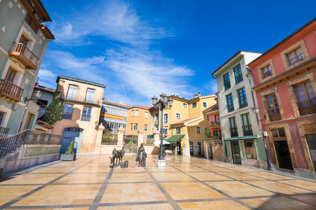 Trascorrales Square, beautiful and famous place in old town of Oviedo city, Asturias, Spain, Europe Stok Fotoğraf