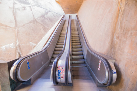 concrete design and modern escalator of Recaredo, public pedestrian access to go up to the upper side of the city of Toledo, Spain, Europe