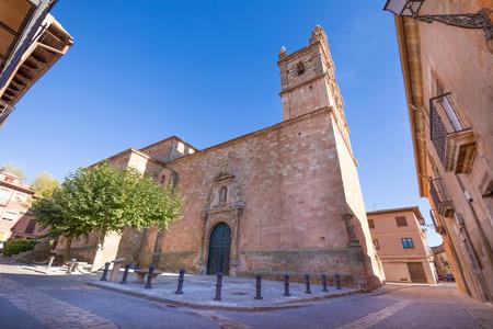 facade of church Santa Maria La Mayor (Saint Mary), neoclassical style landmark and public monument from eighteen century, in Ayllon village, Segovia, Spain, Europe