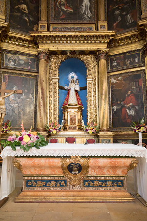 detail of baroque style altar, from seventeenth century, indoor of church parish of Our Lady of the Mantle, from sixteenth century, in Riaza, Segovia, Castile, Spain, Europe Editorial