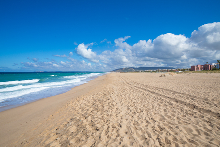 scenery of large sandy beach in Atlanterra next to Zahara de los Atunes village (Cadiz, Andalusia, Spain)