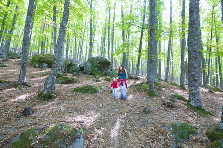 four years age blonde child with red shirt and blue jeans and brunette mother woman holding hand walking in autumn forest mountain