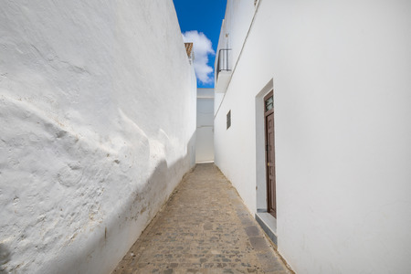 very narrowing pedestrian alley in famous Andalusian old town, with typical arabic white houses, named Vejer de la Frontera (Cadiz, Andalusia, Spain, Europe)