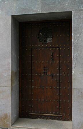 granada: This wooden door in Granada, Spain