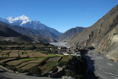 kali: Trekking from Jomsom towards Upper Mustang and Lo Manthang one passes through the village of Kagbeni. Kagbeni lies at an altitude of around 2,800 meters above sea-level in the valley carved by the Kali Gandaki. It is surrounded by a patchwork of small fie Stock Photo