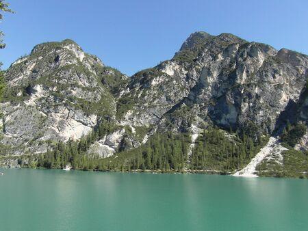 di: Largo Di Braies, Dolomites, Italy Stock Photo