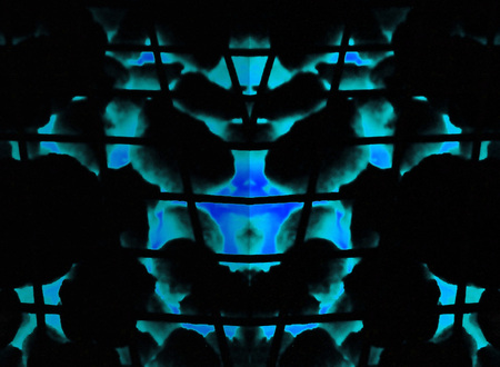 inkblot: Inkblot test style abstract, demonic face Look from a distance.