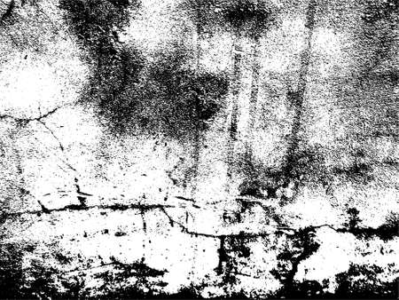 A black and white vector texture of distressed, urban, grungy concrete with aged and weathered damage. The vector file has a background fill layer and a texture layer for easy color scheme changes.