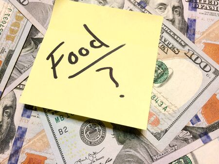 American cash money and yellow paper note with text Food with question mark in black color aerial view