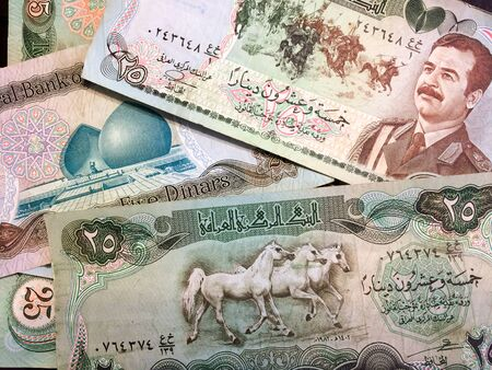 Foreign money cash bills on table iraq