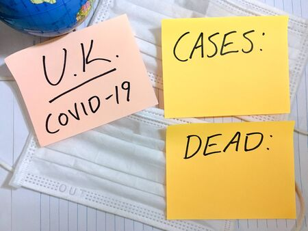 Coronavirus COVID-19 United Kingdom infection medical cases and deaths. 写真素材