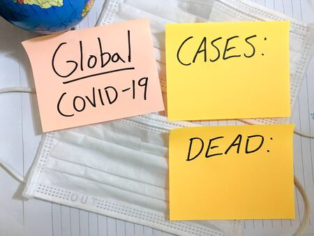 Coronavirus COVID-19 global infection medical cases and deaths.
