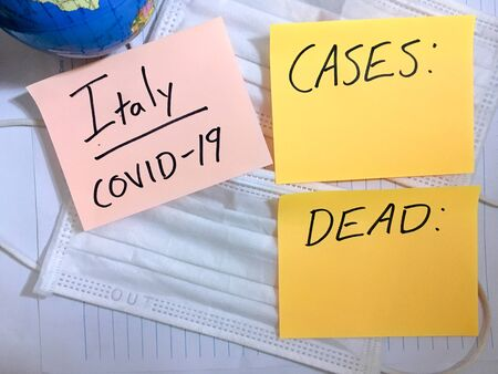 Coronavirus COVID-19 Italy infection medical cases and deaths.