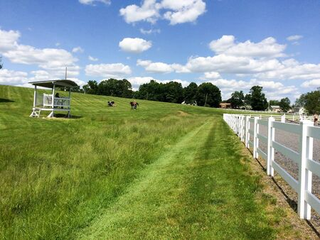 green grass and blue sky with mowed lines and white horse fence