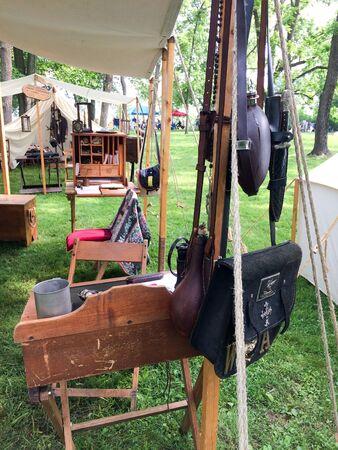 american civil war reenactment in camp living items