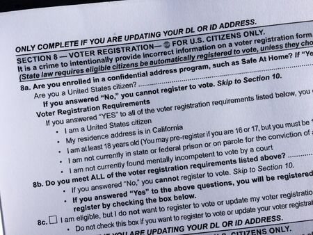 Voters registration form on american dmv california paper