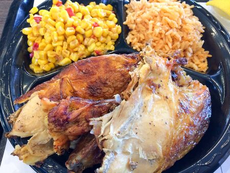 flame broiled bbq chicken with rice and corn el pollo loco style
