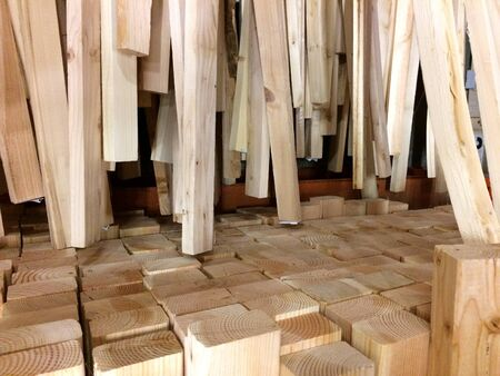 Wood lumber plywood at home improvement warehouse store in rack