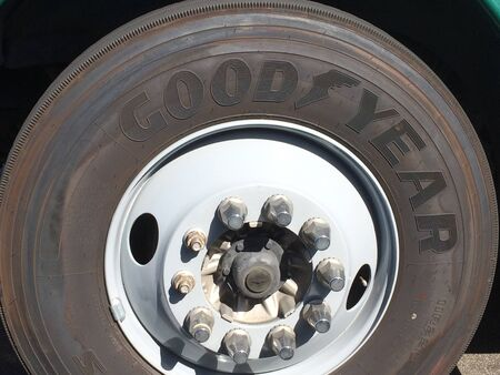 Large truck tire and wheel good year semi 18 wheeler