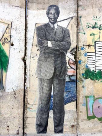 Urban street art with Nelson Mandela South Africa leader against apartheid