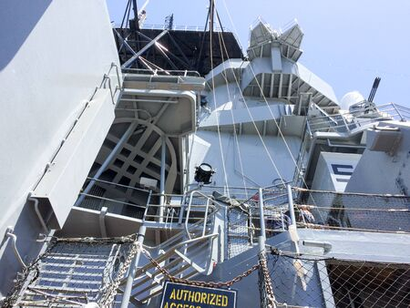Geometric metal steel structure on naval ship on USS Iowa naval warship destroyer battleship
