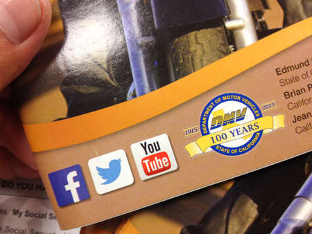 Department of motor vehicles DMV California America social media logos on brochure