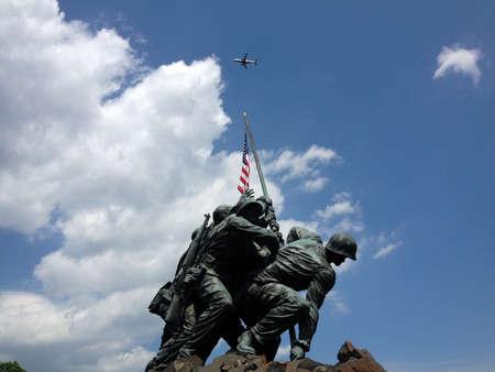 Iwo Jima Marine victory flag statue Arlington VA Washington DC with clouds