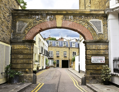 Street view framed with arch