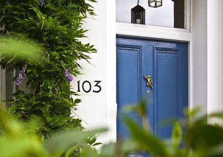 Close-up of a blue Front Door in london 스톡 콘텐츠