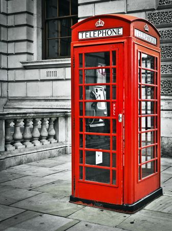 Classic red British telephone box in London photo