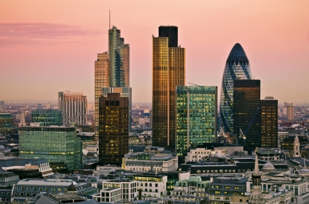 City of London one of the leading centres of global finance this view includes Tower 42 Gherkin,Willis Building, Stock Exchange Tower and Lloyd s of London 스톡 콘텐츠