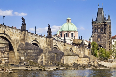 most: Charles Bridge  Karluv Most  in Prague, Czech Republic   Stock Photo