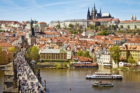 prague castle: Pargue , wiew of the Lesser Bridge Tower of Charles Bridge  Karluv Most  and Prague Castle, Czech Republic