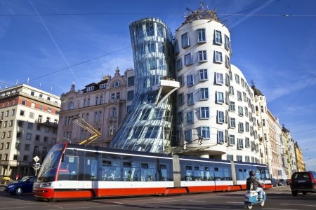 town modern home: Dancing house, modern architecture design  Prague, Czech Republic