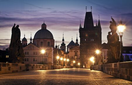 Charles Bridge in Prague at dawn; Czech Republic photo