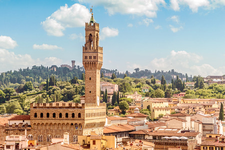 Florence view from the top of the Duomo with Palazzo Vecchio The Old Palace Tuscany, Italy Editorial
