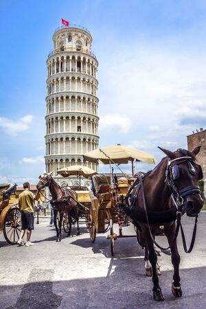 recognized: Leaning Tower of Pisa in Tuscany, one of the most recognized and famous buildings in the world. Stock Photo