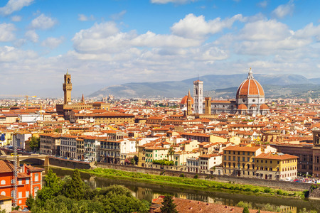 santa maria del fiore: Florence panorama, Palazzo Vecchio and  Cathedral Santa Maria Del Fiore from Piazzale Michelangelo Tuscany, Italy Stock Photo