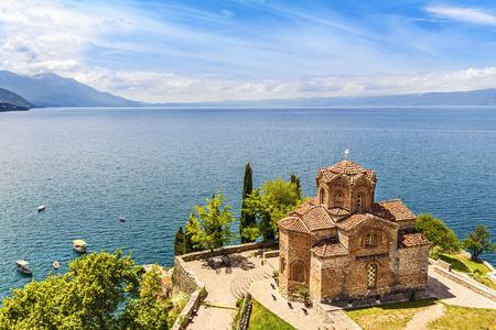 Jovan Kaneo Church on beautiful sunny day at Lake Ohrid, Macedonia.