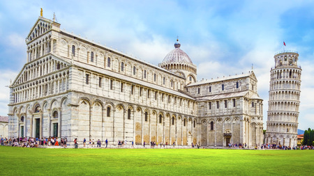 towers: Leaning Tower of Pisa and the Pisa Cathedral in Piazza dei Miracoli, Pisa, Italy Stock Photo