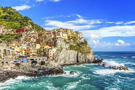 Village of Manarola on the Cinque Terre coast,  La Spezia, Liguria, northern Italy.