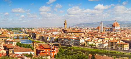 fiore: Florence panorama Ponte Vecchio, Palazzo Vecchio and  Cathedral Santa Maria Del Fiore from Piazzale Michelangelo Tuscany, Italy Stock Photo