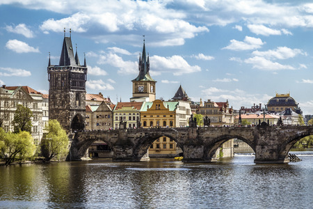 st charles: Pargue , view of the Lesser Bridge Tower and Charles Bridge Karluv Most, Czech Republic.