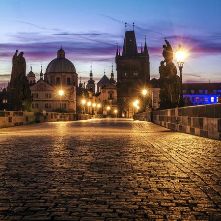 st charles: Charles Bridge in Prague at dawn; Czech Republic
