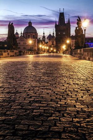 Charles Bridge in Prague at dawn; Czech Republic