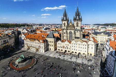 Prague, Old Town Hall 15th Century, Town Square and Church of our Lady Tyn 1365