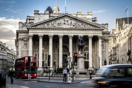 building: Royal Exchange, London With Red doubledecker